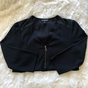 Express black blouse with gold zipper